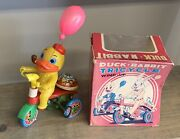 Duck Bicycle Tricycle Trike Bell Tin Mechanical Wind Up Toy Japan Pipe Vintage