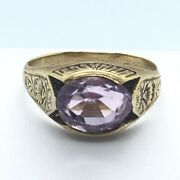 Gilded Age Edwardian J R Wood And Sons 14k Yellow Gold Amethyst Ring Circa 1910
