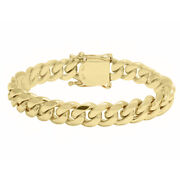 Solid 14k Yellow Gold 3mm-14.5mm Real Miami Cuban Link Chain Bracelet 7-30