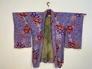 Japanese Vintage Haori Silk Robe Fabric Blue And White Accented