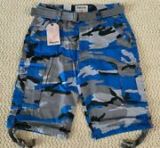 Nwt Menand039s Ablanche Blue Gray Camouflage Camo Belted Cargo Shorts All Sizes