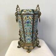 French Champleve Enamel And Bronze Ormolu Lamp Base Vase 19th C Barbedienne Style