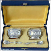 Rare French Sterling Silver 18k Gold Salt Cellars Pair Spoons Boxempireswan