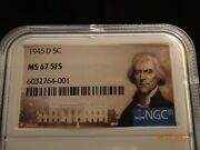 1945-d Jefferson Silver Alloy Nickel, Ngc Ms67 5fs - Color
