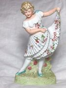 Antique Early 20th Century German Bisque Porcelain Pretty Floral Girl Figurine