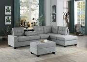 Gray Reversible Chaise Sofa Sectional And Drop Down Table Living Room Furniture