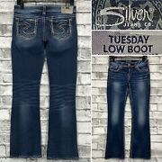 Silver Jeans Tuesday Low Boot Womenand039s 28 X 30 Thick Stitch Stretch Denim