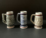 Lot Of 1980s Avon Mini Beer Steins - 3 Handcrafted In Brazil 5 Tall