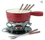 Swissmar Lugano 2-quart Cast Iron Cheese Fondue Set 9-piece Cherry Red