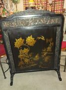 Sale Was 1150 Antique Chinoserie Fire Screen 19th Century Ebonized Wood