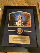 Framed Picture Of Notre Dameand039s Golden Dome W Capsule Of Sample Dust
