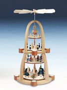 Table Pyramid 4-standoumlckig With Deer Seiffener Village Carolers Colourful H=