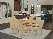 7pc Dining Set 42x60 Table In Light Oak + 6 Parsons Dining Chairs Fabric Padding