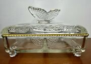 Vintage Jeannette Glass Butterfly Covered Trinket Jewelry Cigarette Box Dish Ec