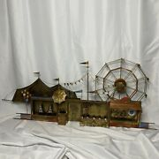 3d Painted Brass Carnival Circus Wall Art By Curtis Jere Large Sculpture