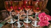 A.4 Fab Vintage 12oz Iridescent Cranberry Wine Glasses, Clear Curved Stems Foot