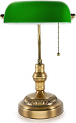 Traditional Bankers Lamp Brass Base Handmade Emerald Green Glass Shadevintage