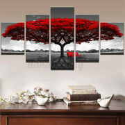 Modern Red Tree Scenery Bench Wall Art Painting Canvas Print Home Decor 5 Pcs