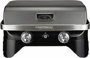 Portable Gas Grill Table Top Grill Bbq 2 Steel Burners Cast Iron Grid And Plancha