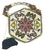 Rare Antique American Indian Beaded Bag Dated 1901 Must See