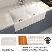 Empire Yorkshire Farmhouse Fireclay 33-inch Double Bowl Kitchen Sink In White Wi