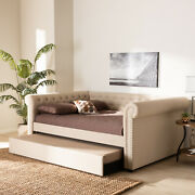 Baxton Studio Mabelle Modern And Contemporary Beige Fabric Upholstered Queen Siz