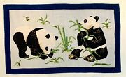 Vintage Hermes Rare And Collectable Beach Towel Playing Panda Bears 34 X 58