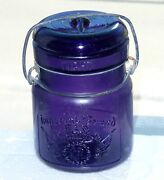 Antique Pint Size True's Imperial Brand Purple Fruit Canning Jar Free Shipping