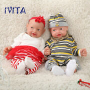 Ivita 2pcs 23and039and039handmade Boy Girl Lifelike Silicone Reborn Twins Doll Toys 10.8kg