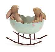 Laughing Bunny Rabbits Rocking In An Easter Egg Cradle Spring Easter Decoration