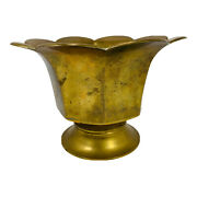 """Vintage Solid Brass Heavy Footed Bowl With Scalloped Edges  7.5 X 4 3/4"""""""