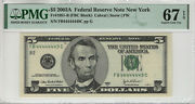 2003 A 5 Federal Reserve Note Near Solid Serial 4's Pmg Supber Gem 67 Epq449c