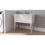 New Floor Mount Utility Tub W/ Pull Out Faucet Laundry Sink Basin And Steel Legs