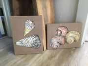 Vintage Quilted Fabric Textile Picture Art Seashell Shell Beach 1980s