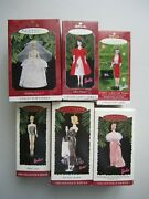 Lot Of 6 Hallmark Barbie Ornaments 1994,1995,1996,1997,1998,2001 With Boxes
