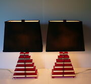 Mid-century Modern Pair Stacked Red/clear Lucite Geometric Pyramid Table Lamps