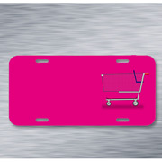 Cart Groceries Shopping Supermarket On License Plate Car Front Add Names
