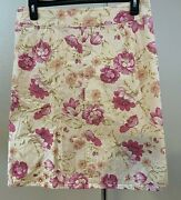 Women's Plus Size Cream W/pink Floral Aline Skirt By Coldwater Creek 04458