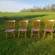 Vintage Lot Of 4 Ethan Allen Heirloom Maple Squireand039s Chair Rare