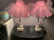 Antique Pair Of French Style Porcelain Figurine Boudoir Table Lamps With Shades
