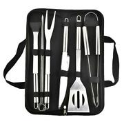 9 Piece Stainless Bbq Set, Grilling Accessories Kit With Case Indoor/outdoor New
