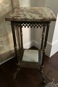 Antique French Victorian Bronze And Onyx Fern Stand Circa 1880