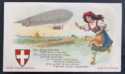 Mint Usa Picture Postcard Early Aviation Swifts Butter Dirigible Zeppelin Airshi