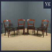 Antique Victorian Set Of Four 4 Mahogany And Leather Shell Carved Dining Chairs