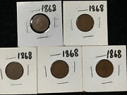 5 Pc Lot 1868 Indian Head Pennies Good Or Better Condition