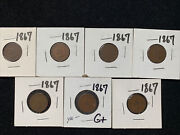 7 Pc Lot 1867 Indian Head Pennies Good Or Better Scarce Date