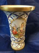 10 Antique Meissen Porcelain Germany Scene Couple With Sword Roses Blue Signed