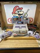 Super Nintendo Snes Refurbished With Two Controllers And Three Games