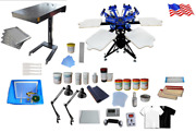 Full Micro-registration 6 Color 6 Station Screen Printing Kit With Flash Dryer