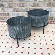 Set Of 2 Galvanized Round Metal Planters On Stand Modern Farmhouse Industrial